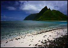 Sand beach and Ofu Island seen from Olosega. National Park of American Samoa ( color)