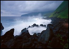 Stormy ocean and balsalt boulders, Siu Point, Tau Island. National Park of American Samoa (color)