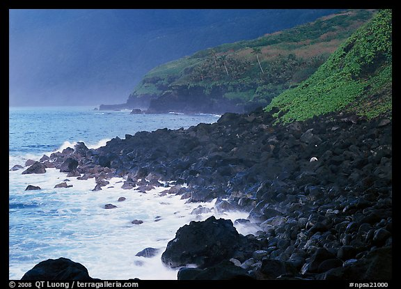 Coastline with Balsalt boulders on the wild South coast of Tau Island. National Park of American Samoa (color)