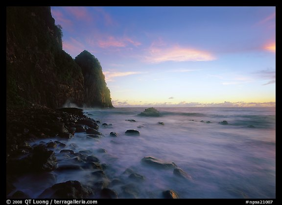 Foamy water and Pola Island at dawn, Tutuila Island. National Park of American Samoa