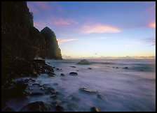 Foamy water and Pola Island at dawn, Tutuila Island. National Park of American Samoa ( color)