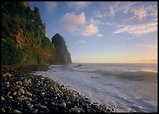Beach with pebbles and Pola Island, early morning, Tutuila Island. National Park of American Samoa ( color)