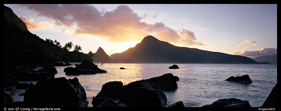 Coastline with boulders at sunrise, Ofu Island. National Park of American Samoa (color)