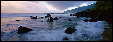 Dynamic seascape with boulders and surf, Tau Island. National Park of American Samoa (Panoramic color)