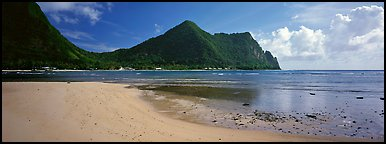 Sandy beach, Tutuila Island. National Park of American Samoa (Panoramic color)