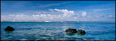 Reefs and tropical waters, Ofu Island. National Park of American Samoa (Panoramic color)