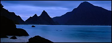 Bay with coastal peaks at dusk. National Park of American Samoa (Panoramic color)