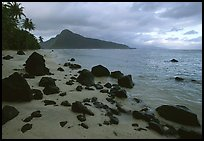 Balsalt boulders on South Beach, Ofu Island. National Park of American Samoa