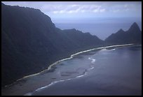 Aerial view of the South side of Ofu Island. National Park of American Samoa