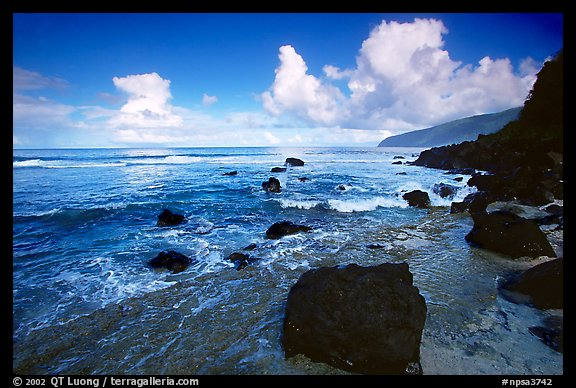 Black boulders and Siu Point coastline, Tau Island. National Park of American Samoa