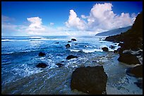 Black boulders and Siu Point coastline, Tau Island. National Park of American Samoa ( color)