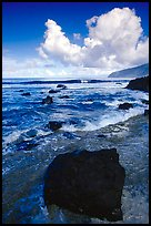 Coastline and boulders, Siu Point, morning, Tau Island. National Park of American Samoa (color)