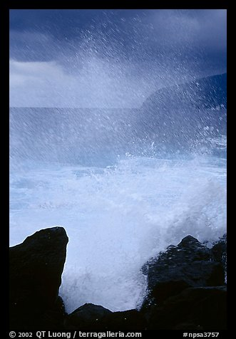 Crashing wave, Siu Point, Tau Island. National Park of American Samoa (color)