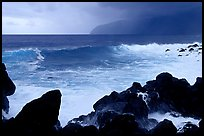 Boulders, crashing waves, and wild coastline, Siu Point, Tau Island. National Park of American Samoa (color)