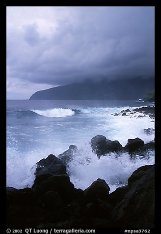 Stormy seascape with crashing waves and clouds, Siu Point, Tau Island. National Park of American Samoa (color)