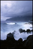 Stormy seascape with crashing waves and clouds, Siu Point, Tau Island. National Park of American Samoa