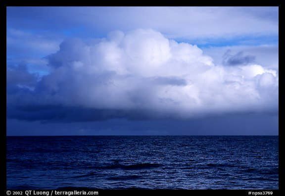 Cloud above the ocean, Tau Island. National Park of American Samoa