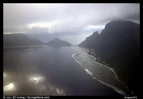 Aerial view of Ofu and Olosega Islands. National Park of American Samoa