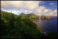 Sunrise on Vatia Bay and Pola Island, Tutuila Island. National Park of American Samoa