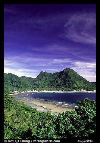 Vatia Bay and village, Tutuila Island. National Park of American Samoa