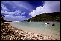 Fishing boat in Vatia Bay, mid-day, Tutuila Island. National Park of American Samoa ( color)