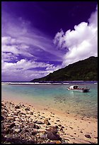 Fishing boat in Vatia Bay, Tutuila Island. National Park of American Samoa