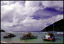 Fishing boats in Vatia Bay, Tutuila Island. National Park of American Samoa
