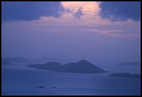 Sunset over small islands. Saint John, US Virgin Islands ( color)