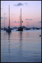 Sailboats in Cruz Bay harbor at sunset. Virgin Islands National Park, US Virgin Islands. (color)
