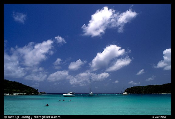 Saltpond bay beach with swimmers and boats. Virgin Islands National Park (color)