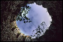 Sky through the top of old sugar mill. Virgin Islands National Park, US Virgin Islands. (color)