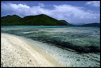 Beach, reef, and hills, Leinster Bay, morning. Virgin Islands National Park ( color)