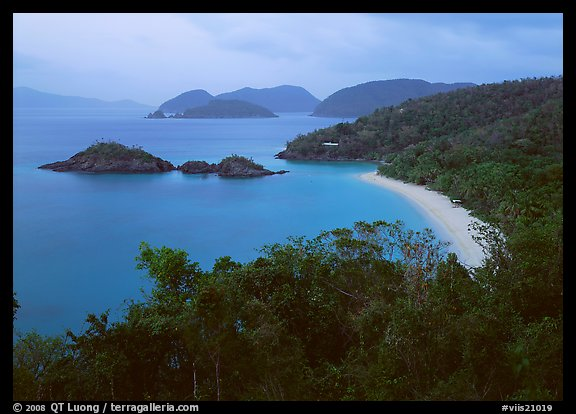 Trunk Bay at dusk. Virgin Islands National Park, US Virgin Islands.