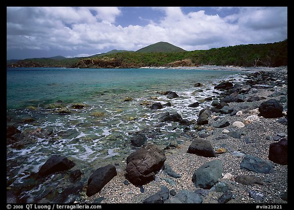 Gravel beach and rocks. Virgin Islands National Park, US Virgin Islands.