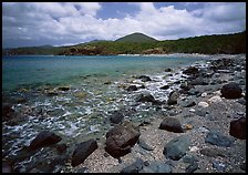 Gravel beach and rocks. Virgin Islands National Park, US Virgin Islands. (color)