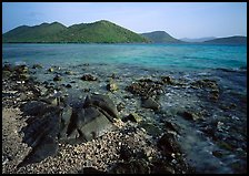 Rocks, reef, and Leinster Bay. Virgin Islands National Park, US Virgin Islands.