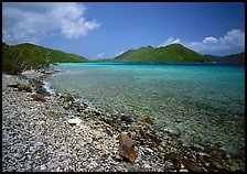 Turquoise waters in Leinster Bay. Virgin Islands National Park, US Virgin Islands.