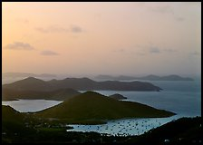 Hills, harbor and boats at sunrise, Coral bay. Virgin Islands National Park, US Virgin Islands.