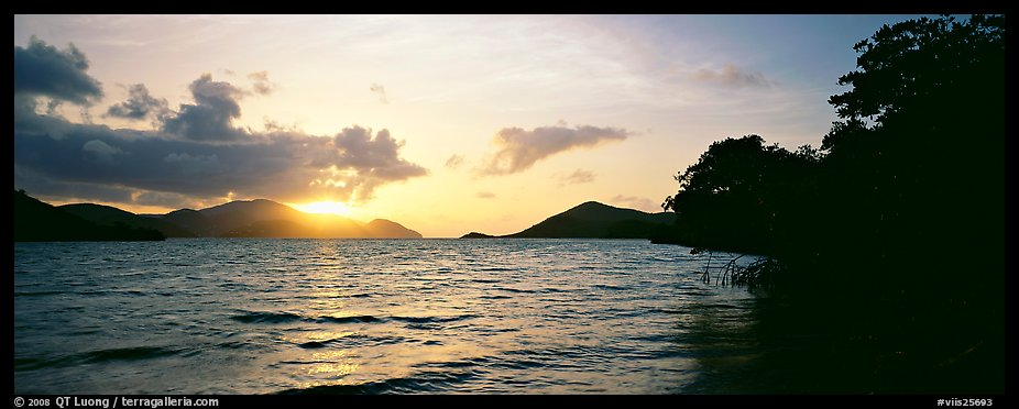 Sun rising across bay. Virgin Islands National Park (color)
