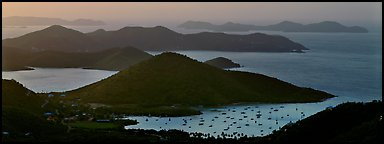 Coral Bay and harbor seen from above. Virgin Islands National Park (Panoramic color)