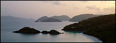 Trunk Bay at sunrise. Virgin Islands National Park (Panoramic color)