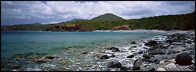 Bay lined with boulders and verdant hills. Virgin Islands National Park (Panoramic color)