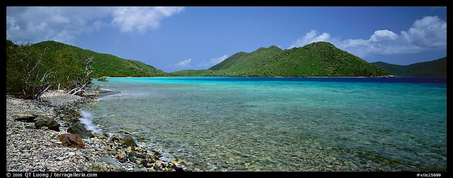 Bay and beach with turquoise waters. Virgin Islands National Park (color)
