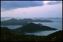 Coral Harbor seen from Centerline Road, sunrise. Virgin Islands National Park ( color)