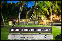 National Park sign. Virgin Islands National Park, US Virgin Islands.