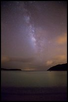 Milky Way and stars over Little Lameshur Bay. Virgin Islands National Park, US Virgin Islands.