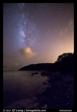 Milky Way and coastline, Little Lameshur Bay. Virgin Islands National Park (color)