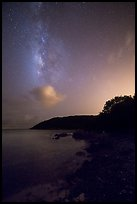 Milky Way and coastline, Little Lameshur Bay. Virgin Islands National Park, US Virgin Islands.