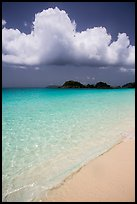 Sand, urquoise waters, and Trunk Cay, Trunk Bay. Virgin Islands National Park ( color)