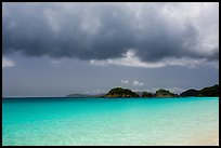 Turquoise waters, Trunk Cay, and dark clouds. Virgin Islands National Park ( color)